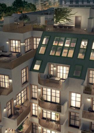 WINEGG Wohnprojekt 1040 Wien | Hofansicht bei Nacht
