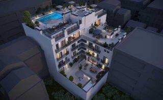 WINEGG-Neubauprojekt-Palma-Mallorca-Eigentumswohnungen-Galerie-Dachterrasse-Nachtansicht